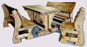 Набор ДУБОВОЙ мебели «СЕМЕЙНЫЙ» (стол + 2 скамьи + стул)