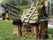 Сказочный домик из массива ДУБА (декор - натуральный мох)