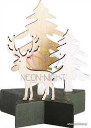 Деревянная фигурка с подсветкой Олень в лесу 9-8-10 см