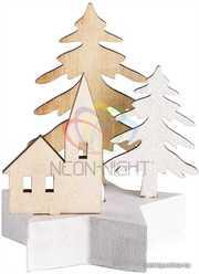 Деревянная фигурка с подсветкой Домик в лесу 9-8-10 см